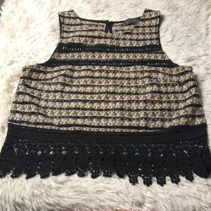 ASTR sleeveless crop top lace trim key hole XS